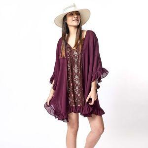 Kristen Bellamy Plum Brown Purple Floral Silk